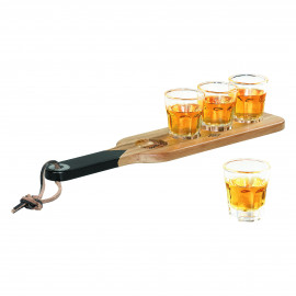 serving paddle and shot glasse