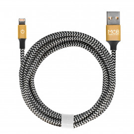 Cable Lightning damier et or