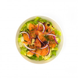 Salad with house marinated salmon and Charlotte potato, sherry vinaigrette By The Drugstore