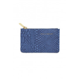 Rectangle Card Purse Navy Snake-effect