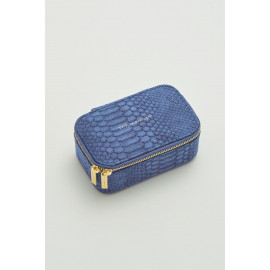 Mini Jewellery Box Navy Snake-effect