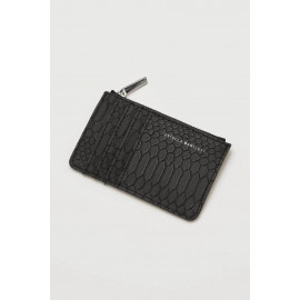 Rectangle Card Purse Black Snake-effect
