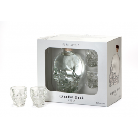 Coffret vodka Crystal Head+ 2 verres shot