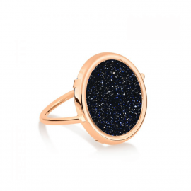 Disc ring Pink gold Blue sand stone size 52