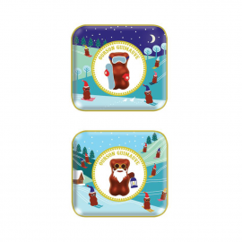 Small decorated and filled metal box Christmas Edition