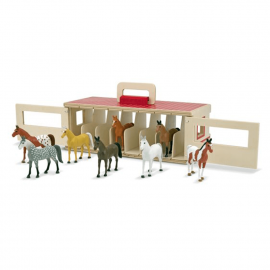 Stable of small wooden horses