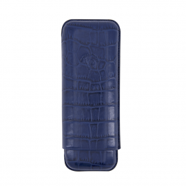 Robusto case for 2 cigars blue caiman pattern