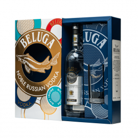 Beluga Noble vodka box with cocktail glass