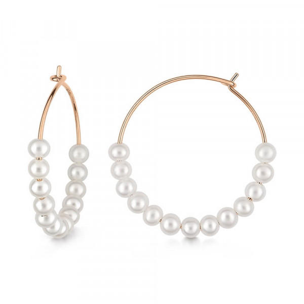 Pair of Maria creoles - White pearls