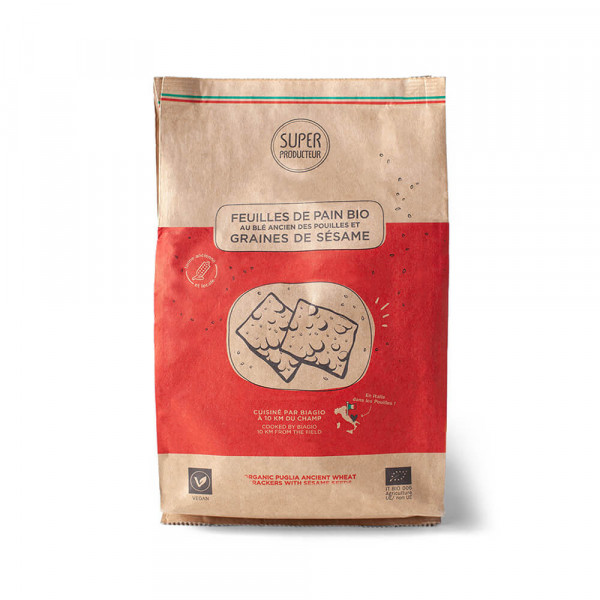 Organic Bread Sheets with Ancient Wheat and Sesame Seeds - 200g